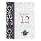 Purple, Black, White Damask Table Number Card
