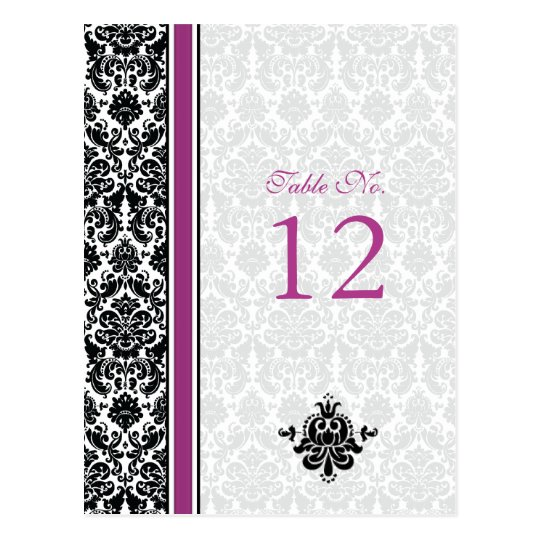Purple, Black, White Damask Table Number Card