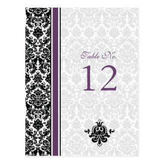 Purple, Black, White Damask Table Number Card Postcard