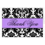 Purple Black White Damask Thank You Card