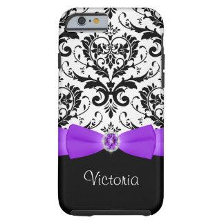 Purple Black White Damask Tough iPhone 6 Case
