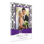Purple, Black, White Damask Wedding Canvas Gallery Wrap Canvas