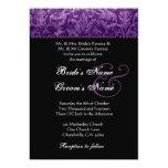 Purple Black White Damask Wedding Invitation