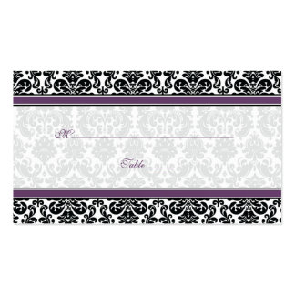Purple, Black, White Damask Wedding Place Cards Business Card Templates