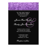 Purple Black White Damask Wedding Ver 003 Personalized Announcement