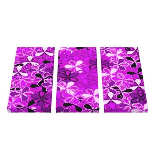 Purple,black white flowers gallery wrap canvas