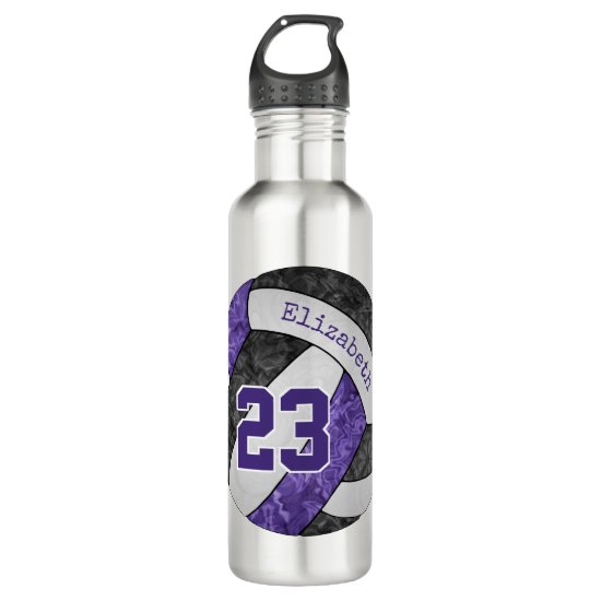 Purple black white girls' volleyball team colors stainless steel water bottle