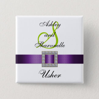 Purple, Black, White, Lime Green Usher Pin