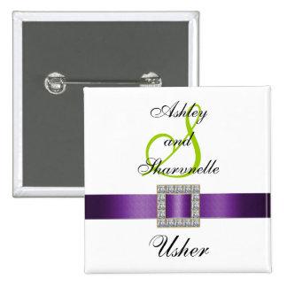Purple, Black, White, Lime Green Usher Pin