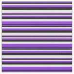 [ Thumbnail: Purple, Black & White Lines Fabric ]
