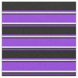 [ Thumbnail: Purple, Black & White Lines/Stripes Pattern Fabric ]