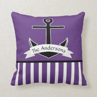 Purple Black White Nautical Design Personalized Throw Pillow