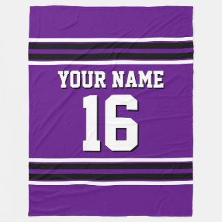 Purple Black White Sports Jersey Team Jersey Fleece Blanket