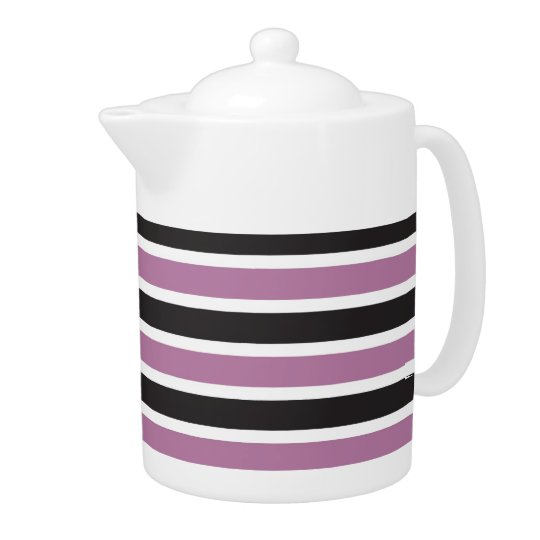 Purple Black White Striped Porcelain Teapot