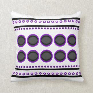 Purple black white stripes circles funky pillow