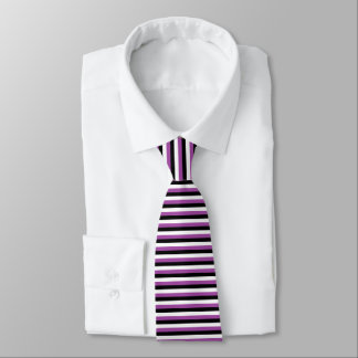 Purple Black White Stripes Neck Tie