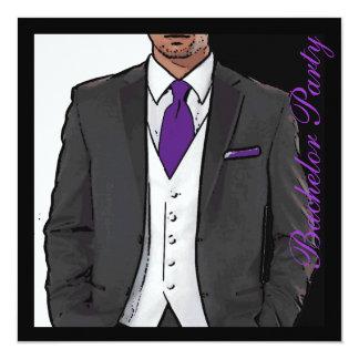 Purple black white tuxedo bachelor party invites
