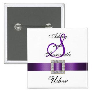 Purple, Black, White Usher Pin