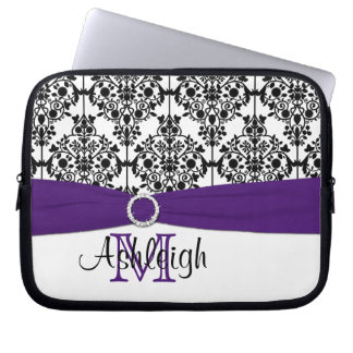 Purple Black White with FAUX Ribbon Laptop Sleeve