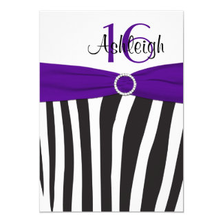 Purple, Black, White Zebra 16th Birthday Invite