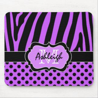 Purple, Black, White Zebra Stripe & Dots Mousepad