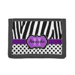 Purple, Black, White Zebra Striped Tri-Fold Wallet