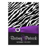 Purple Black White Zebra Wedding Invitations