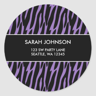 Purple & Black Zebra Pattern Custom Address Label