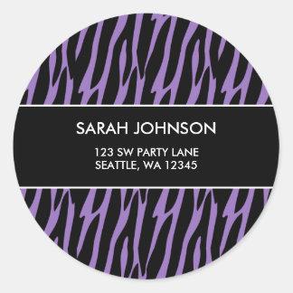 Purple & Black Zebra Pattern Custom Address Label Classic Round Sticker