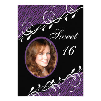 Purple & Black Zebra Print Sweet 16 Invitation