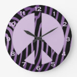 Purple Black Zebra Print Wall Clock