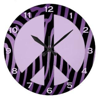 Purple Black Zebra Print Wall Clock