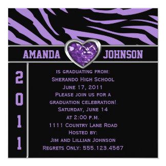 Purple Black Zebra Purple and Silver Heart Jewel Card