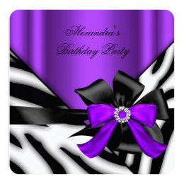 Purple Black Zebra Stripe Birthday Party Card