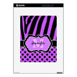 Purple Black Zebra Stripe, Polka Dots iPad 1 Skin iPad Skin