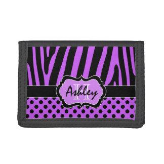 Purple Black Zebra Striped Polka Dot Tri-Fold Trifold Wallets
