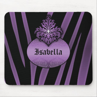 Purple Black Zebra Striped with Nameplate Mouse Pad