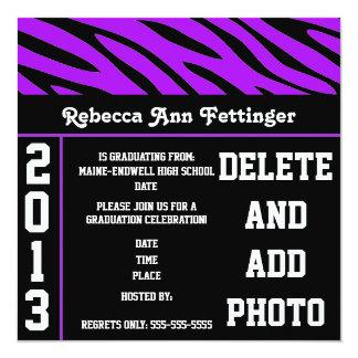 purple black zebra stripes graduation invitations