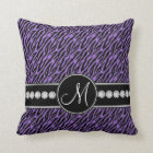 Purple Black Zebra Stripes Monogram Throw Pillow