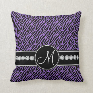 Purple Black Zebra Stripes Monogram Throw Pillow