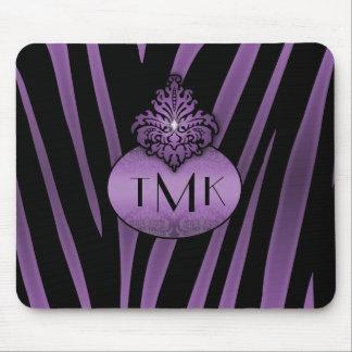 Purple Black Zebra Stripes Monogrammed Flourish Mousepads