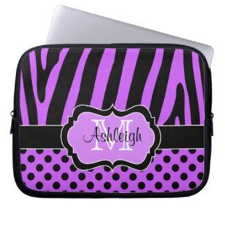 Purple Black  Zebra Stripes Polka Dots Laptop Case