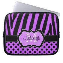 Purple Black  Zebra Stripes Polka Dots Laptop Case Computer Sleeves at Zazzle
