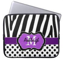 Purple Black Zebra Stripes Polka Dots Laptop Case Laptop Computer Sleeves at Zazzle