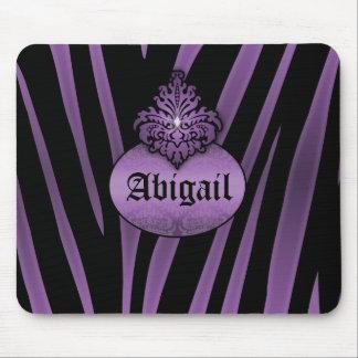 Purple Black Zebra Stripes with Flourish Nameplate Mousepad