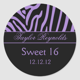 Purple Black Zebra Sweet 16 Sticker