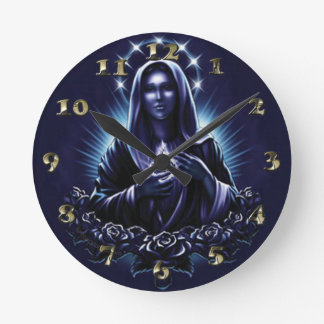 Purple Blessed Virgin Mary and Roses Round Clock