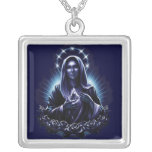 Purple Blessed Virgin Mary Necklace