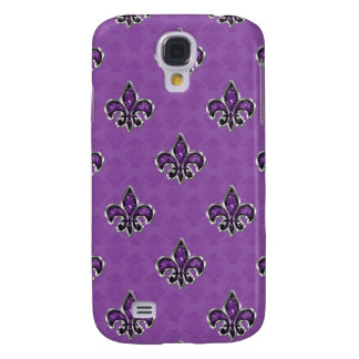 Purple Bling Fleur De Lis Pattern Samsung Galaxy S4 Case
