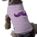 Purple Bling mustache (Faux Glitter Graphic) Pet Tee Shirt